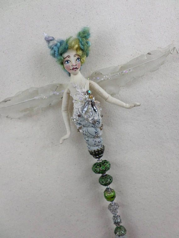 OOAK Art Doll  Jeweled Dragonfly  wall art hanging  tassel #fairy #artdoll #paulasdollhouse