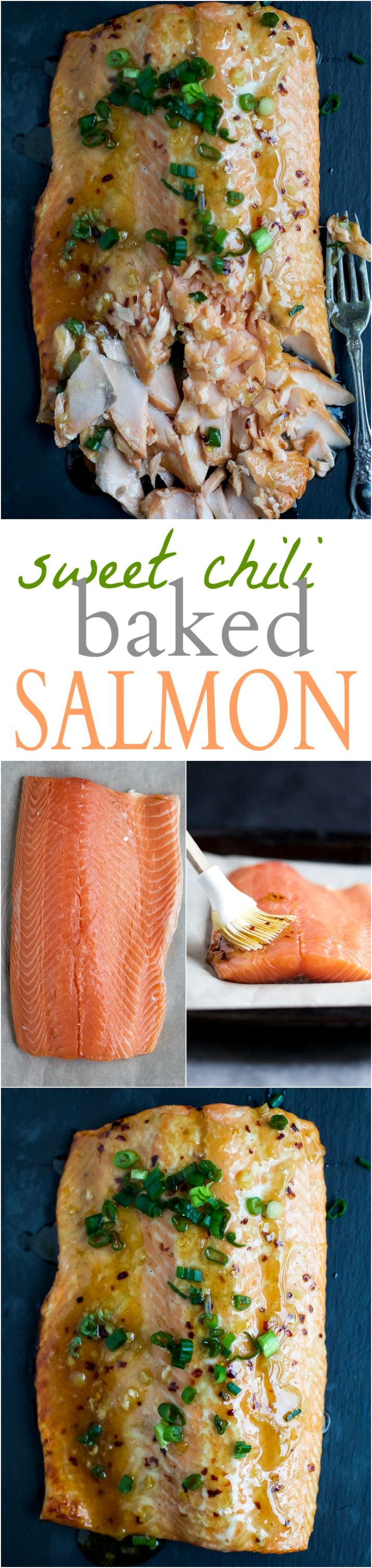 An easy SWEET CHILI BAKED SALMON recipe that's high in protein, low in calories, and only takes 30 minutes to make!   joyfulhealthyeats.com