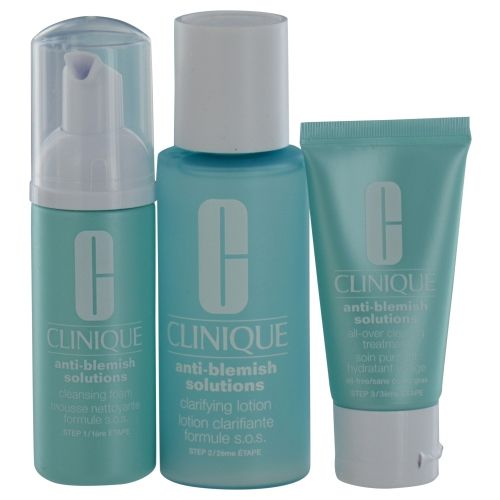 CLINIQUE by Clinique Anti-Blemish Solutions 3-Step System: Cleansing Foam + Clarifying Lotion + Clearing Treatment --3pcs  $51.88
