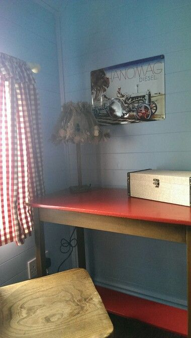 Boys playhouse, ranch themed.. little work bench for homework or crafts..