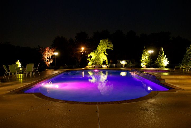 Deep Purple Pool With Led Pool Lights Such As The Hayward