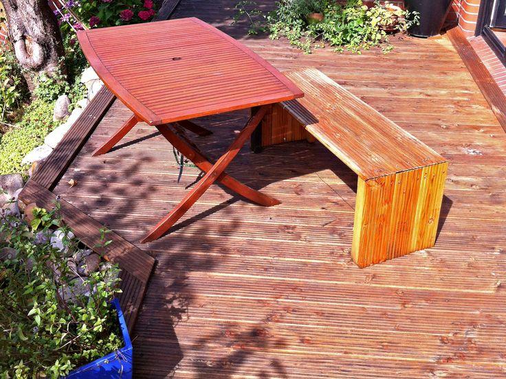 Terrasse und Gartenbank aus Douglasie-Terrassendielen von Holzhandel-Deutschland