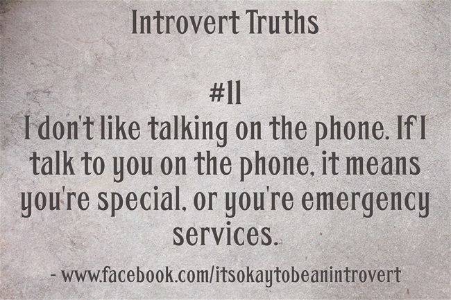 Introvert - I don't even like talking on the phone if you're special, but I will make an exception for you, sometimes, lol