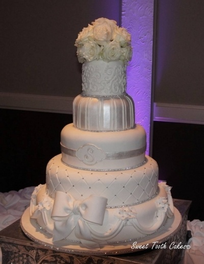 White Diamond Wedding Cake By SweetToothCakesbyCrystal on CakeCentral.com