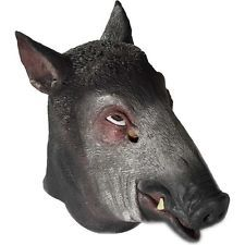 Adult Wild Boar Pig Hog Mask Latex Deluxe Animal Halloween Costume Accessory