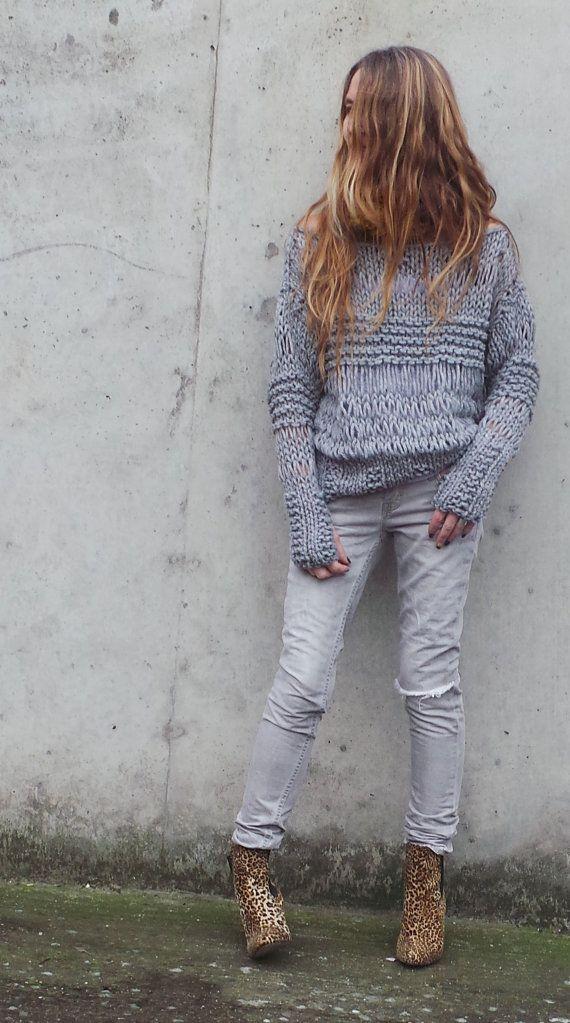 Silver Gray sweater Chunky oversized grunge sweater by ileaiye