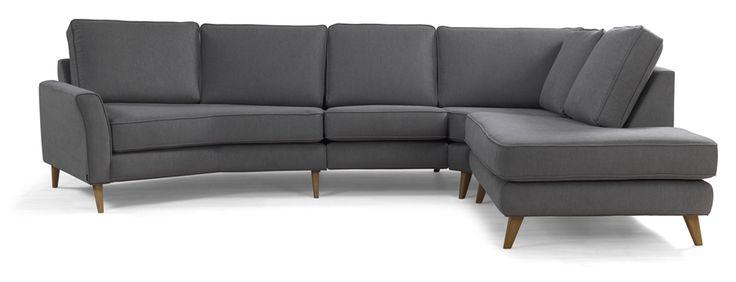 Köp LIBERTY Hörnsoffa m maxihörn och öppet avslut tyg Empire AM4G4 gråbrun - Stort utbud hos EM.com