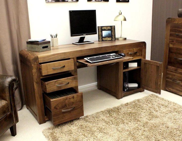 Large Office Desk Computer PC Study Furniture Wood Drawer Cabinet Twin Pedestal