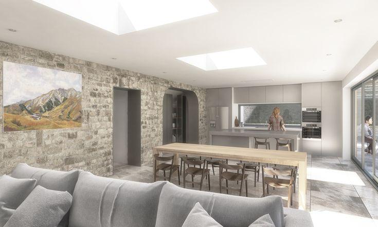 Open plan living kitchen dining. Exposed brick, sliding doors and hidden pantry