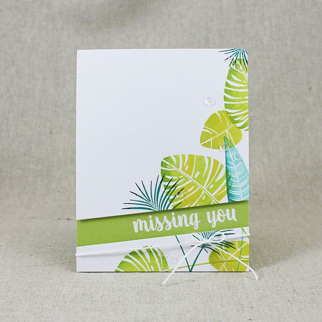 Missing You Card by Lizzie Jones for Papertrey Ink (July 2016)