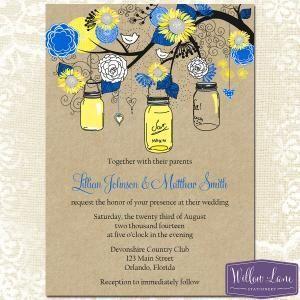 Cute Mason Jar Cobalt Blue And Pale Yellow Wedding Invitations