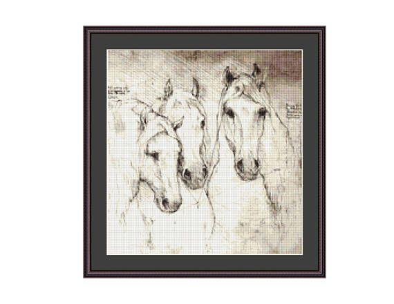 Leonardo Da Vinci Sketch, Study of the Horse Counted Cross Stitch Pattern / Chart, Instant Digital Download  (ABA004)