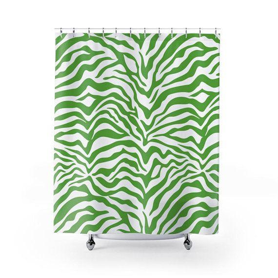 Green Zebra Shower Curtain With Images Printed Shower Curtain