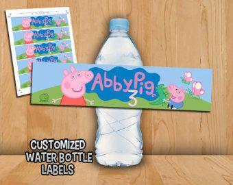 Etiquetas de botella de Peppa Pig - Peppa Pig etiquetas de agua personalizadas - fiesta de cumpleaños de George Pig Peppa Pig para imprimir