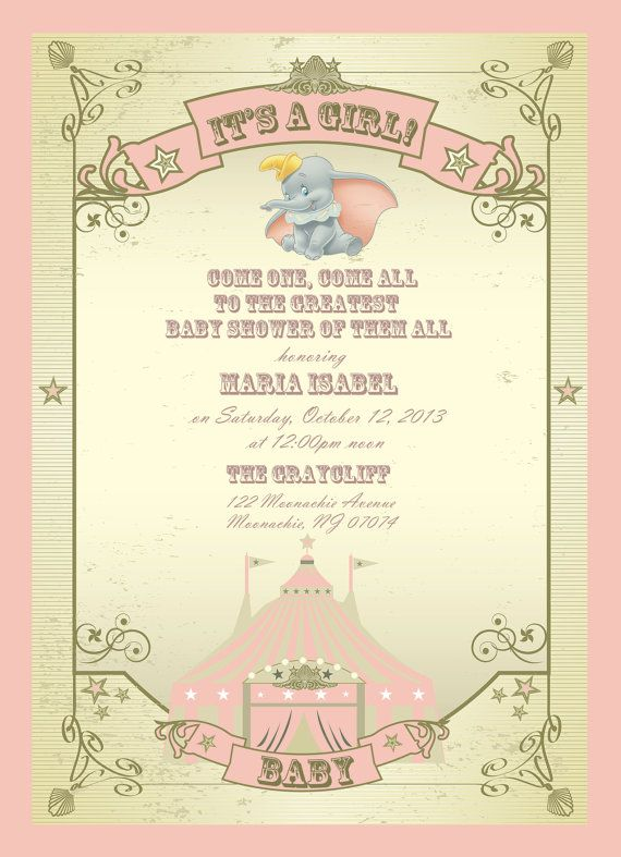 Dumbo Theme Baby Shower Invitations by TheLittleStickyNote on Etsy