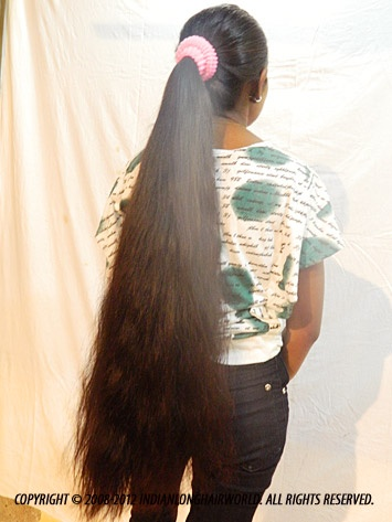 Long Hair Model of the Month September 2012. Swati with her long, thick thigh length hair in thick ponytail