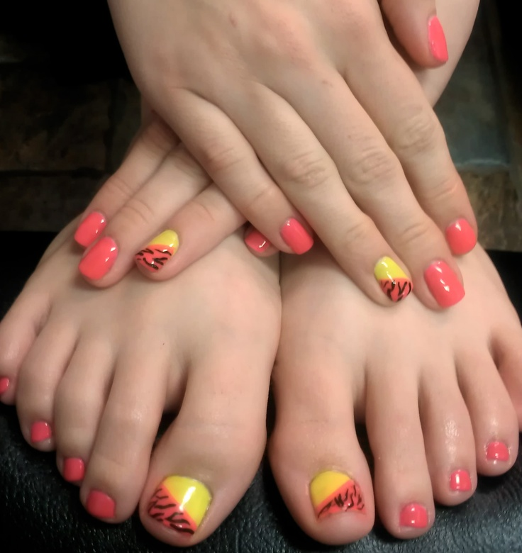 Matching Fingers and Toes... Neon Pink & Yellow Gel Polish ...