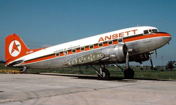Ansett Airlines of Australia DC-3 stored Essendon Airport, July 1981, image google search