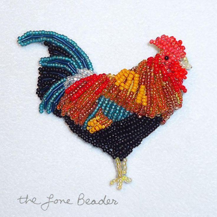 Beaded rooster chicken Kauai Hawaii state bird beadwork bead embroidery jewelry