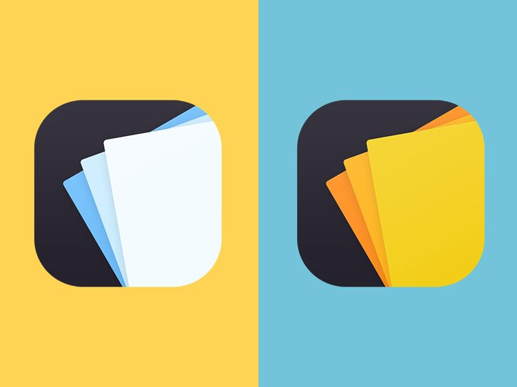 Two color options for the icon of a postcards app that I got to work on during a hackathon week.