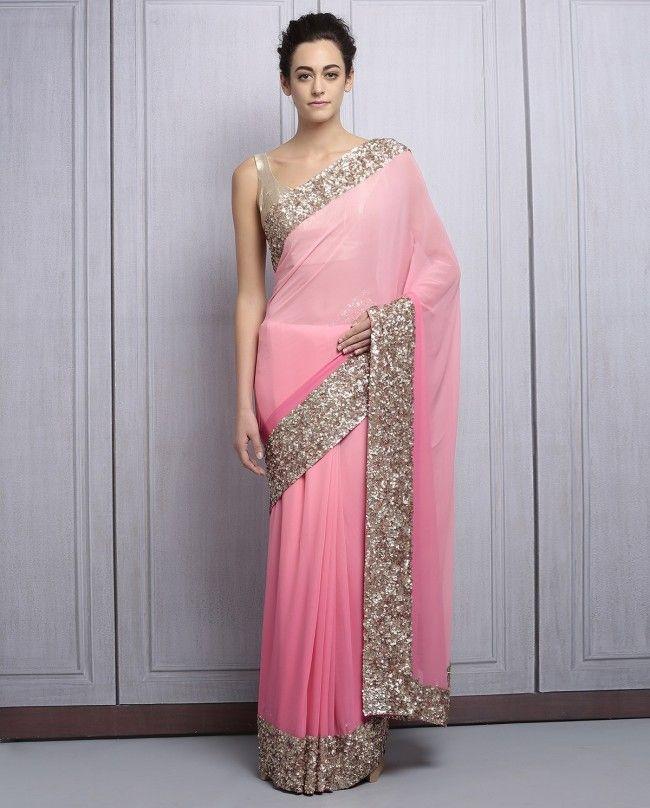 Pink Georgette Sequined Saree By Manish Malhotra  @looksgud  #ManishMalhotra, #Designer, #Pink, #PartyWear