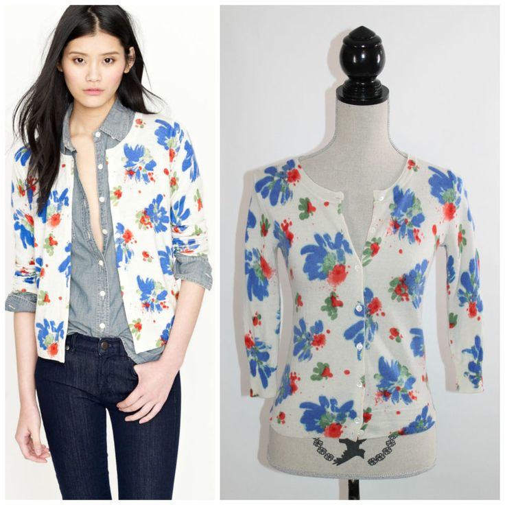 J.Crew Paintbox Floral Blue Red Watercolor Merino Wool Cardigan XS #JCrew #Cardigan