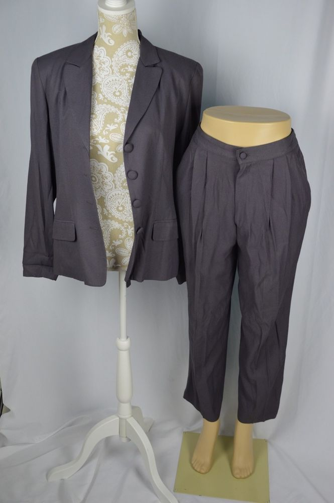 NY Style Womens 8/10 Dark Purple Pant Suit Set 4 Button Jacket Stretch Waist #NewYorkStyle #PantSuit