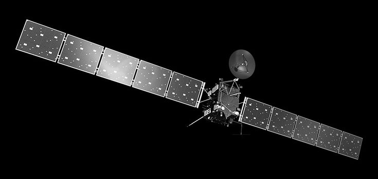 The Rosetta spacecraft is a roughly seven-foot cube with a solar-panel wingspan of 105 feet.