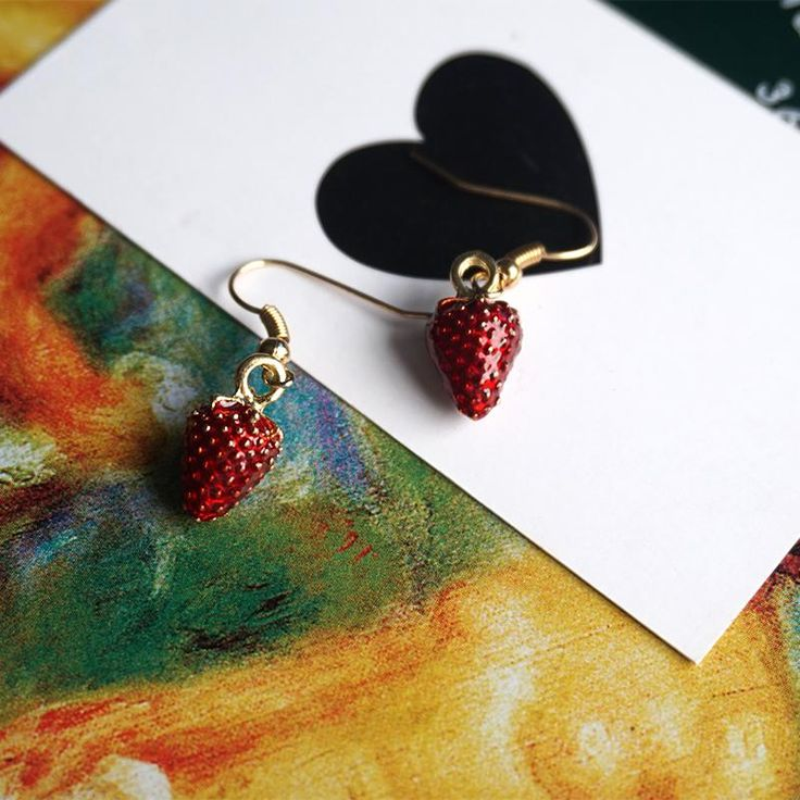 Strawberry Earrings #earrings #strawberries - These Adorable Fruity Dangles are so Cute! How Fresh are they? Perfect to Cheer up any mood!