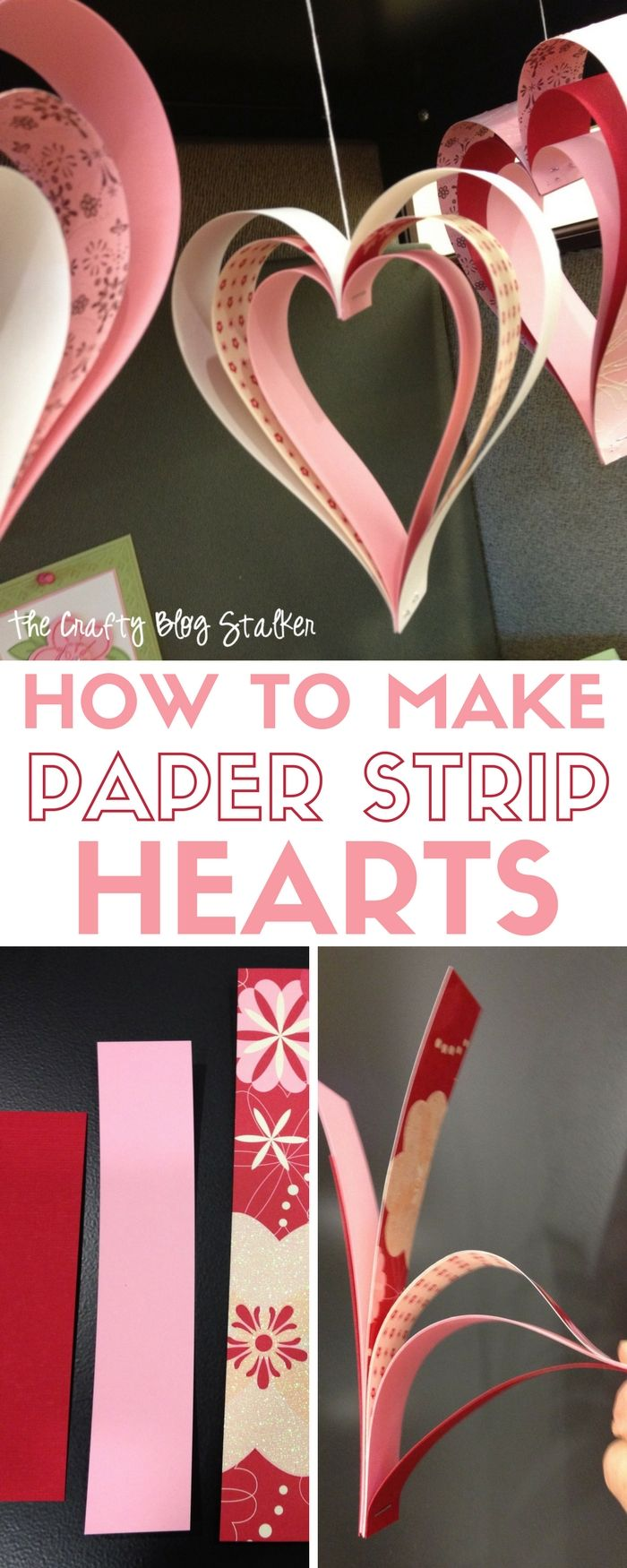 Paper Strip Hearts | Valentine's Day | Party Decor | Paper Crafts | Banner | Hanging Hearts |Easy DIY Craft Tutorial Idea