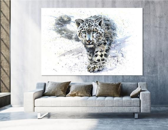 Home Decor  Wall art Original Animal snow leopard painting HD Printed on canvas