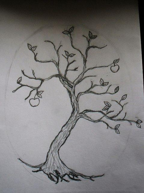 Line Drawing Tree Tattoo : Tree tattoo preliminary line drawing