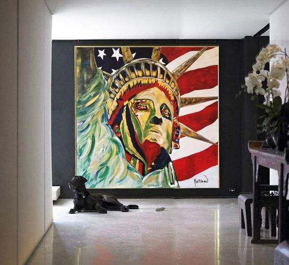 Statue of Liberty Acrylic Painting, New York City, NYC Decor, Huge Wall Art, NYC Art, NYC Pop Art, I Love New York, Statue of Liberty Canvas de la boutique KathleenProFineArt sur Etsy