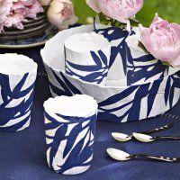 Vaisselle papier mâché bambou peinture bleu de chine - Marie Claire Idées