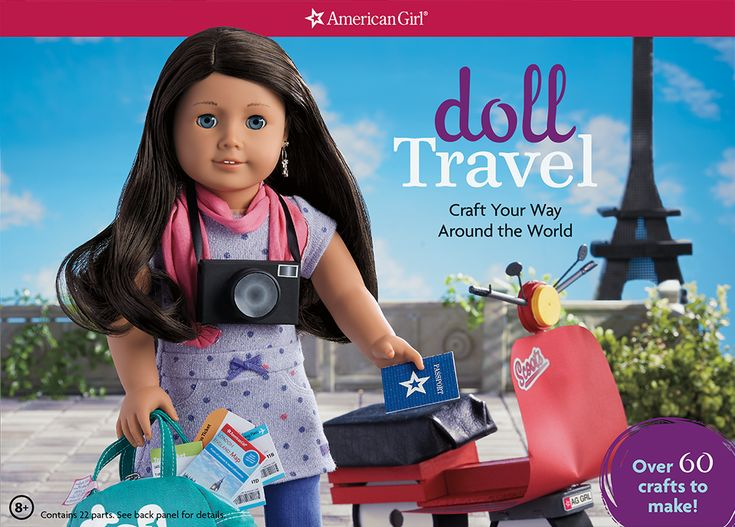 Girls can design a dream vacation for their dolls! This kit includes supplies girls can use to create make-believe theme parks, sandy beaches, and charming cruises. Includes a real doll-sized duffel bag, an idea book, and travel essentials: a pretend passport, mini international maps, faux airline tickets, souvenirs, play money, and more.