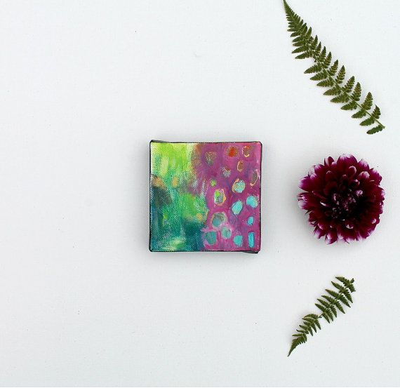 Colorful Miniature Abstract Painting 3x3 inches Emerald Abstract