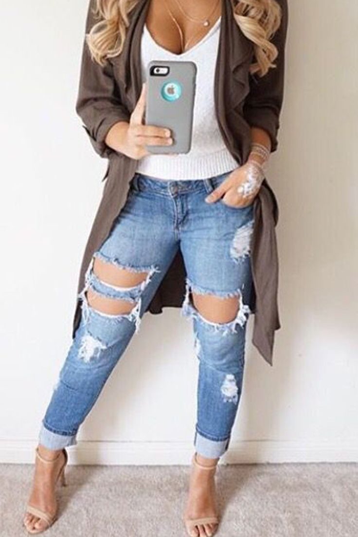 Cut Out Rough Holes Slim Skinny Low Waist Long Jeans