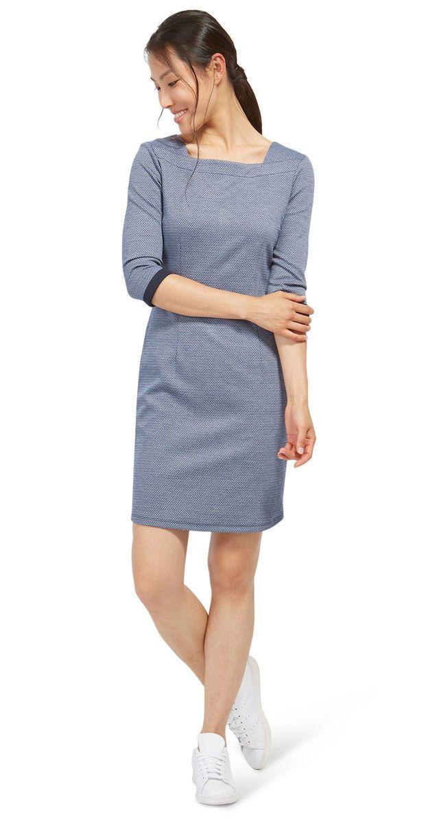 Tom Tailor gemustertes Kleid aus Jacquard, real navy blue real navy blue 38 | Karstadt Online-Shop