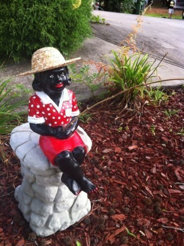 Stsatuette For Outdoor Ponds: Concrete Black Fisher Girl Statue Outdoor Pond Cement