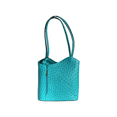 Multi-Way Turquoise Ostrich Leather Shoulder Bag/Backpack - £49.99