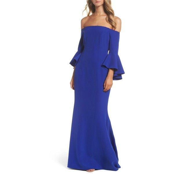 Women's Vince Camuto Off The Shoulder Gown ($228) ❤ liked on Polyvore featuring dresses, gowns, cobalt, off shoulder evening gown, bell sleeve dress, off the shoulder dress, vince camuto gowns and off shoulder gowns