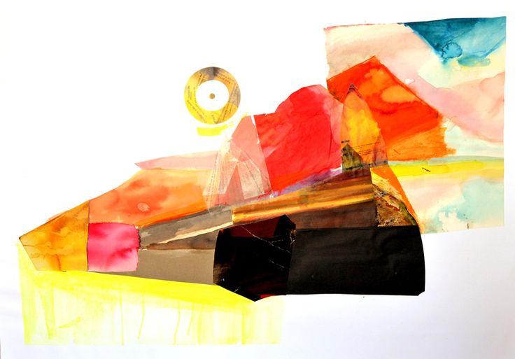 5.Bez tytułu II, Martyna Bocheńska, abstrakcyjny kolaż inspirowany pejzażem, 100 x 70 cm, oprawiony w białe ramy