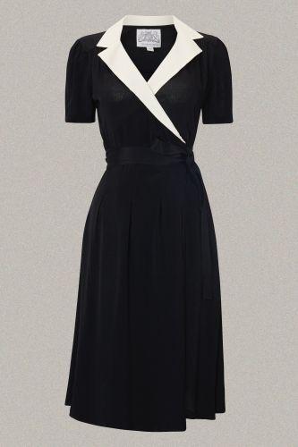 1940's Peggy white colar vintage wrap dress | Retro jurkjes | Misspoppywear, retro boetiek