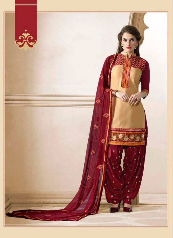 Compelling Embroidered Cotton   Beige and Maroon Designer Patila Salwar Suit