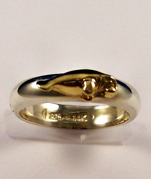 14k Gold and Sterling Silver Stacking Manatee by tiposcreations, $109.95