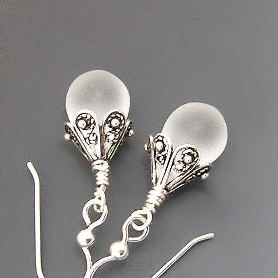 Tear Drop Dangle Earrings White Satin