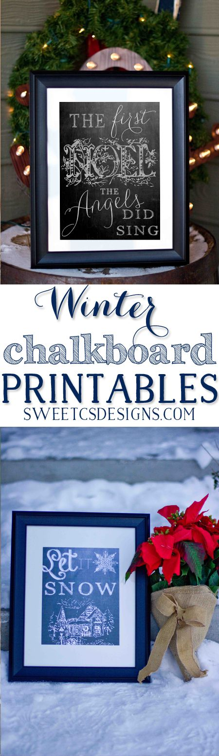 Love these winter chalkboard printables! Pop in a frame for instant decor!