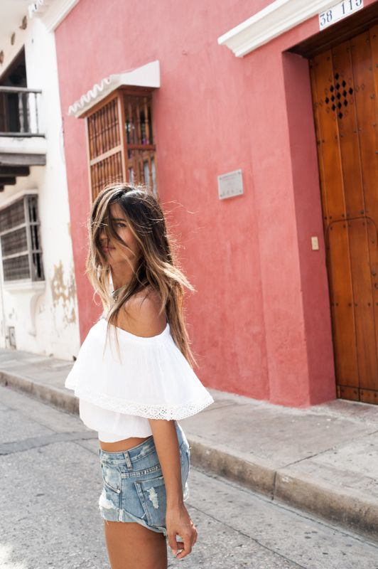 white top + blue jeans