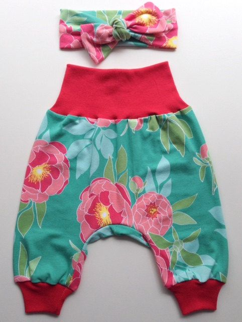 Floral Baby Harem Pants plus matching by PiggytailsByLisaQ on Etsy