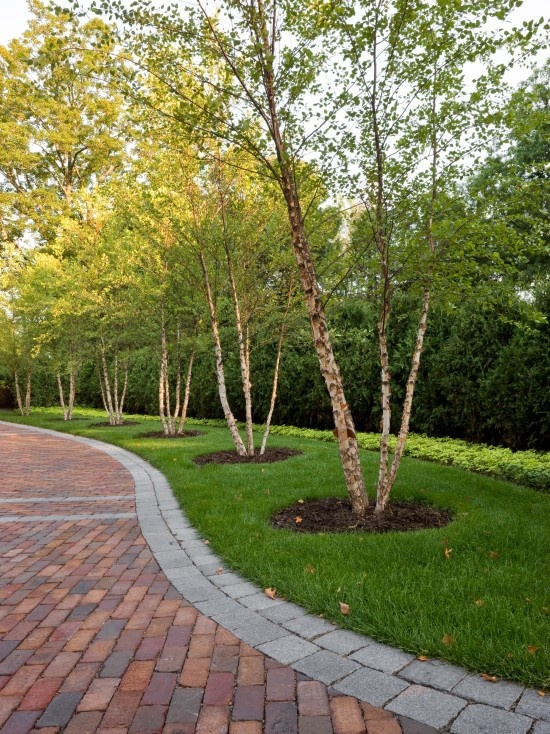 Brick driveway with double cobble banding